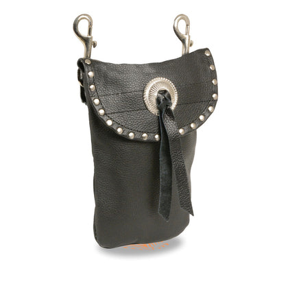 Milwaukee Leather SH506S Black Leather Belt Bag with Studding and Double Clasps