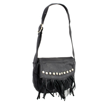 Milwaukee Leather SH507 Ladies 'Studded and Fringed' Black Hand Bag