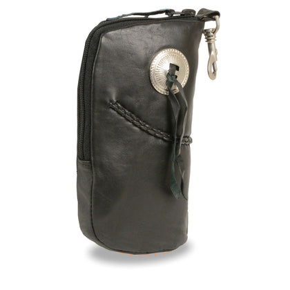 Milwaukee Leather SH508B Black Leather Zippered Eye Glass Case with Concho and Belt Clasp