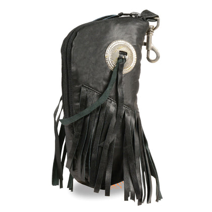 Milwaukee Leather SH508F Black Leather Zippered Eye Glass Case with Fringe and Belt Clasp