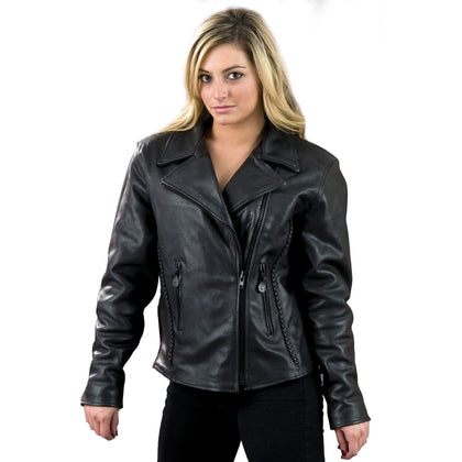 Milwaukee Leather SH7023 Ladies 'Braided' Black Leather Jacket with Studs and Gun Pockets