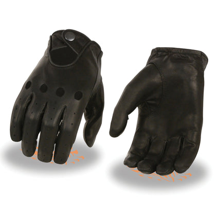 Milwaukee Leather SH729 Men's Black Unlined Leather Pro Driving Gloves