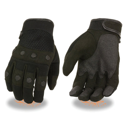 Milwaukee Leather SH761 Men's Black Padded Knuckle Mechanics Gloves with Amara Palm