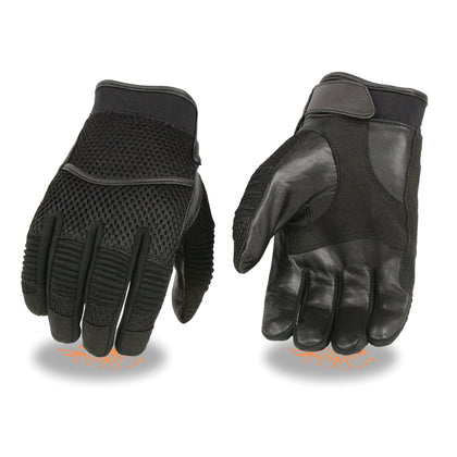 Milwaukee Leather SH791 Men's Black Mesh and Leather Racing Gloves with Leather Palm