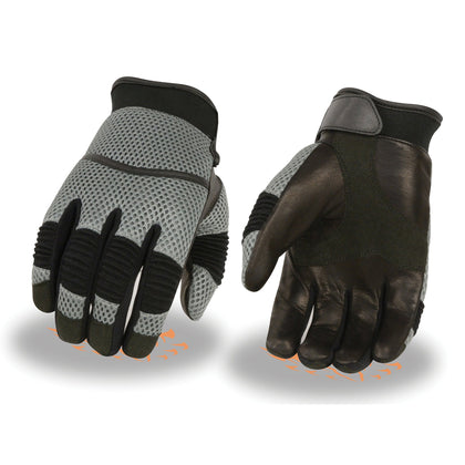 Milwaukee Leather SH791 Men's Black and Grey Mesh and Leather Racing Gloves