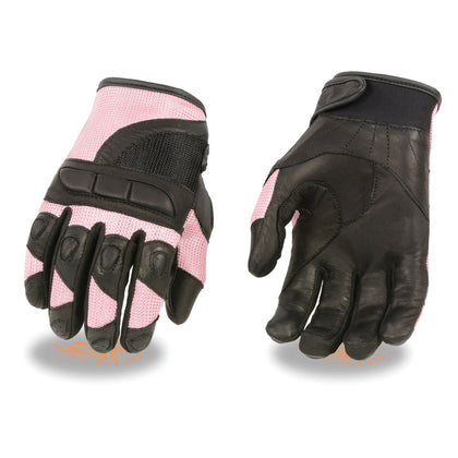 Milwaukee Leather SH802 Ladies Black and Pink Leather with Mesh Combo Racing Gloves