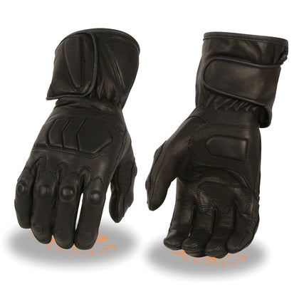 Milwaukee Leather SH813 Men's Black Leather Waterproof Gauntlet Gloves with Padded Panels