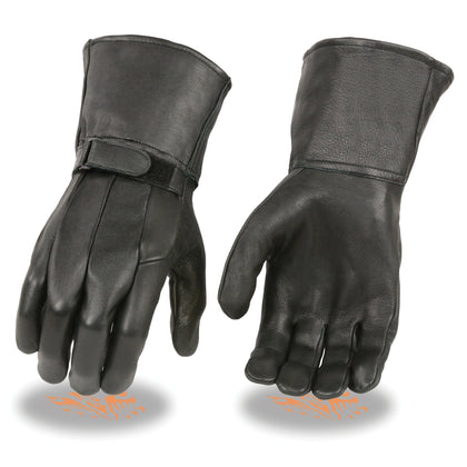 Milwaukee Leather SH864 Men's Black Deerskin Unlined Gauntlet Gloves