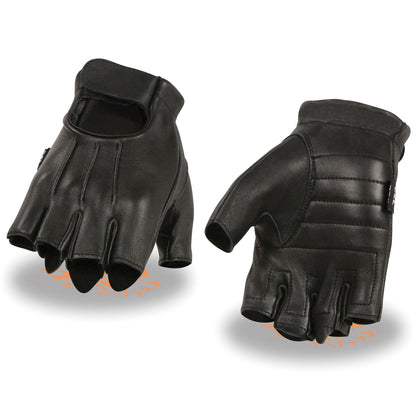 Milwaukee Leather SH878 Men's Black Welted Deerskin Fingerless Gloves with Gel Palm