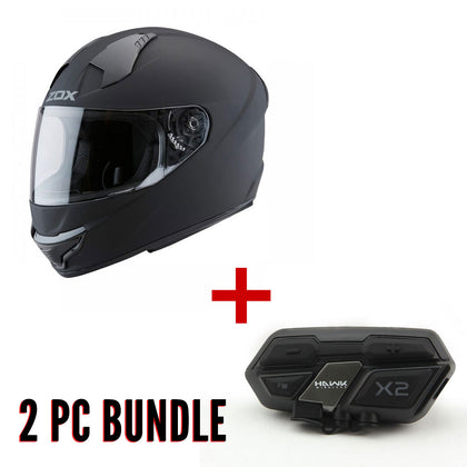 ZOX ST-11118 'Thunder 2' Bluetooth Red and Black Full-Face Helmet Bundle