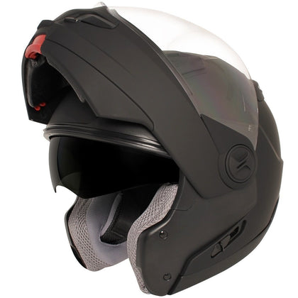 Hawk ST 1198 'Transition' 2 in 1 Flat Black Modular Motorcycle Helmet