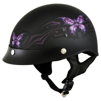 Outlaw T70 'Purple Butterfly' Advanced DOT Motorcycle Half Face Helmet