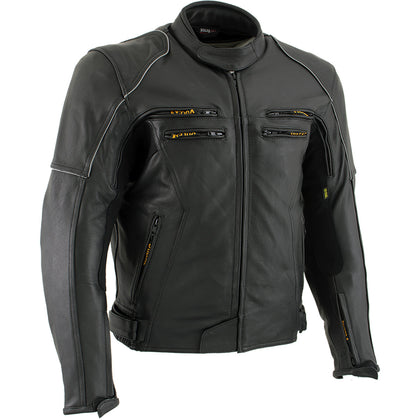 Vulcan VNE98431 'Ace' Men's Black Leather Armored Motorcycle Jacket