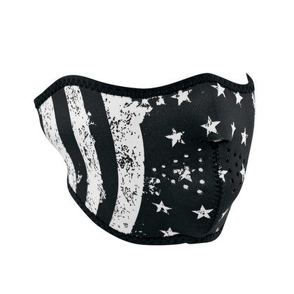 Zan Headgear WNFM091H Neoprene Half Face Mask Black And White Vintage Flag Design