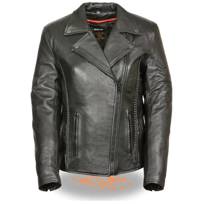 Milwaukee Leather LKL2711 Womens Black Leather Jacket with Braid and Stud Back Detailing