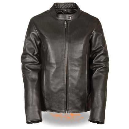 Milwaukee Leather LKL2720 Women's Black Classic Side Lace Leather Motorcycle Jacket