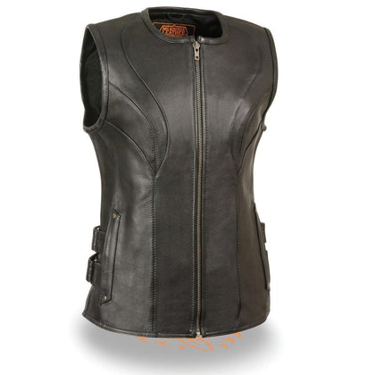 Milwaukee Leather MLL4515 Women's Zipper Front SWAT Style Black Leather Vest
