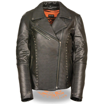 Milwaukee Leather ML1948 Women's Classic Riveted Black Leather Jacket with Gun Pocket
