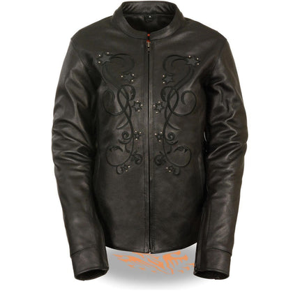 Milwaukee Leather ML2500 Women's Reflective Star Riveted Black Leather Jacket with Gun Pockets