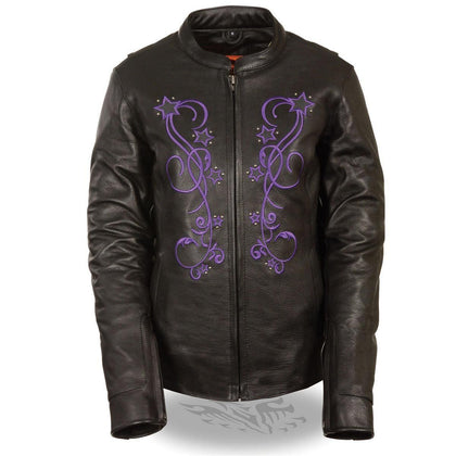 Milwaukee Leather ML2500 Women's Reflective Star Riveted Black/Purple Leather Jacket with Gun Pockets