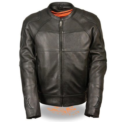 Milwaukee Leather MLM1510 Mens Black Leather Scooter Jacket with Reflective Skull