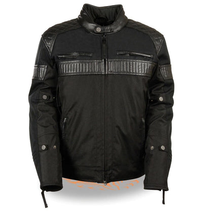 Milwaukee Leather MPM1735 Men's Black Textile Scooter Jacket with Leather Trim and Gun Pockets