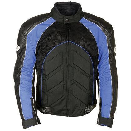 NexGen SH2153 Men's Black and Blue Armored Moto Textile and Leather Combo Jacket