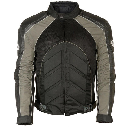 NexGen SH2153 Men's Black and Grey Armored Moto Textile and Leather Combo Jacket