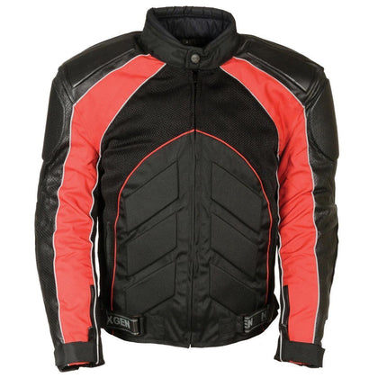 Milwaukee Leather SH2153 Men's Combo Black/Red Armored Leather/Textile/Mesh Jacket