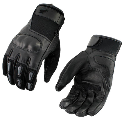 Xelement XG-7795 Men's Black Leather Padded Protective Racing Gloves with i-Touch Technology