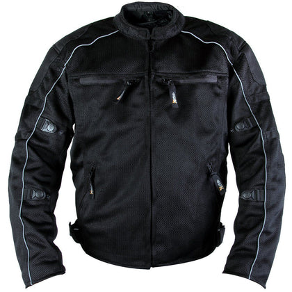 Xelement XS6557 Men's 'Troubled' Black All-Weather Mesh Jacket with X-Armor Protection