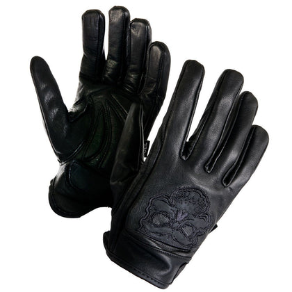 Xelement XS-7789 Men's Black Cowhide Leather Gloves with Reflective Skull Embroidery