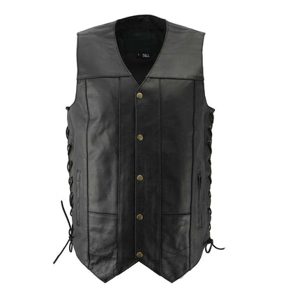 Men's XS106 10-Pocket Classic Black Side Laced Biker Leather Vest with Dual Inside Gun Pocket