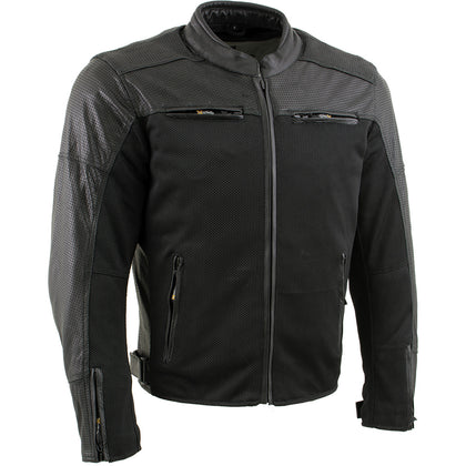 Xelement XS11001 Men's 'Chaos' Black Perforated Leather and Mesh Armored Scooter Jacket