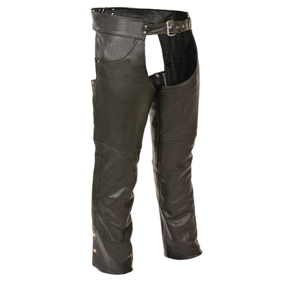 Genuine Leather XS1101 Men's Black Classic Leather Chaps with Jean Pockets