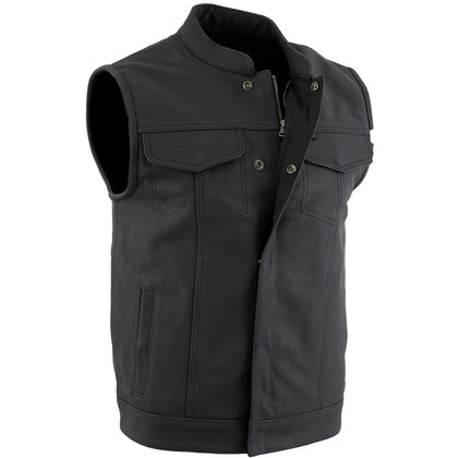 Xelement XS13001 'Barrage' Mens Flat Black Club Leather Vest with Dual Closure