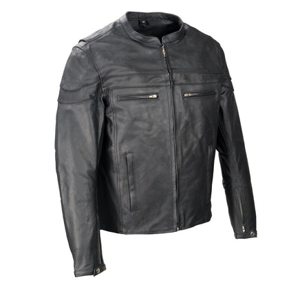 Event Leather SH1408 Men's Black 'Sporty Crossover' Vented Black Leather Moto Jacket