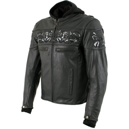 Xelement XS1504 'Futile' Men's Black Armored Scooter Leather Jacket