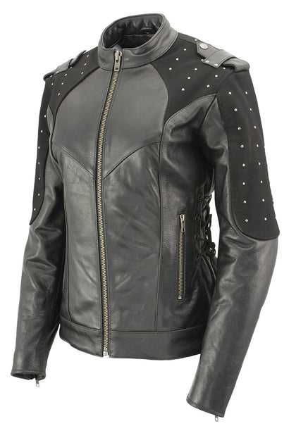 Xelement XS22001 Ladies 'Scuba' Leather Jacket with Reflective Wings and Studs