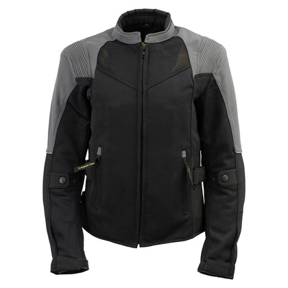 Xelement 'Gold Series' XS22007 Ladies 'Be Cool' Black with Grey Textile and Soft-Shell Motorcycle Jacket with X-Armor