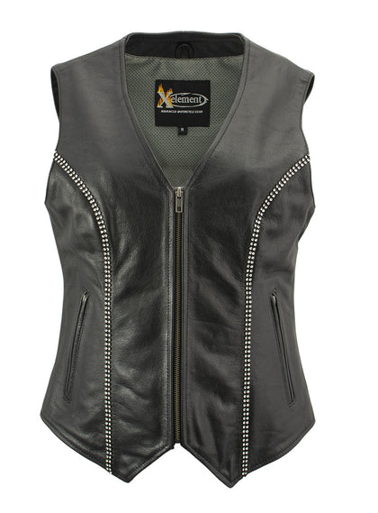 Xelement XS24002 'Bling' Ladies Leather V Neck Zippered Vest with Rhinestone Bling Detail