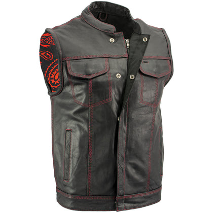 Xelement XS3449 Men's 'Paisley' Black Leather Motorcycle Vest with Red Stitching