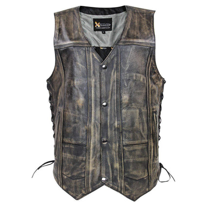 Xelement XS3540 Men's 'Wreck' Distressed Brown Multi-Pocket Leather Vest