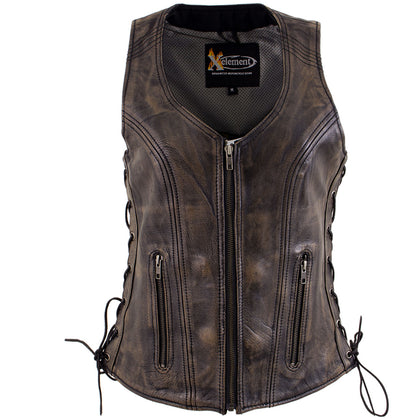 Xelement XS3900 Ladies 'Bella' Distress Brown Leather Vest with Side Laces