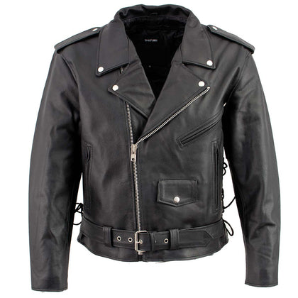 Men's XS400T Tall Size Black Classic Side Lace Police Style Motorcycle Jacket