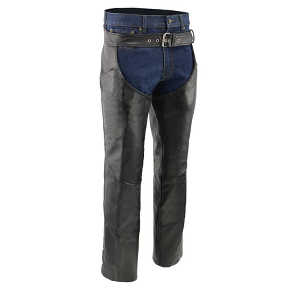 Men's XS432 Classic Black Thermal Lined Leather Motorcycle Chaps with Jean Style Pockets