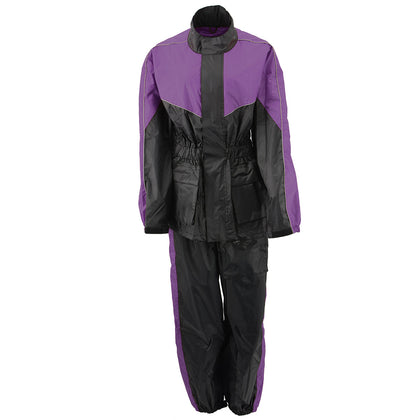 NexGen Ladies XS5001 Black and Purple Water Proof Rain Suit with Reflective Piping