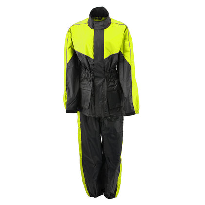 NexGen Ladies XS5001 Black and Hi-Vis Yellow Water Proof Rain Suit with Reflective Piping