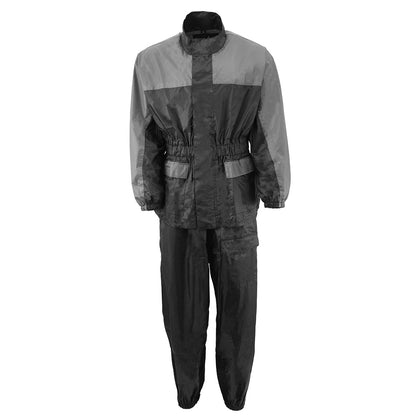 NexGen Ladies XS5031 Grey and Black Water Proof Rain Suit with Cinch Sides