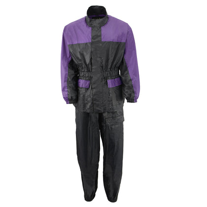 NexGen Ladies XS5031 Purple and Black Water Proof Rain Suit with Cinch Sides